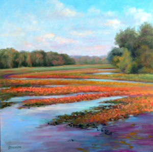 'Minard Mills Pond', Oil, 17 x 17