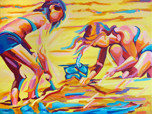 """""""Digging for Treasure"""", oil painting of children playing at the beach,by Bill Knudstrup"""