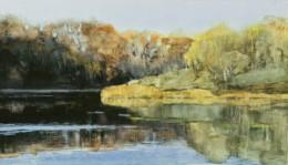 """Huron Reflections"", watercolor, 12 x 21"