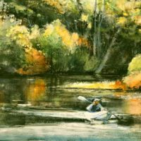 October Kayaker | Watercolor | Lois Lovejoy