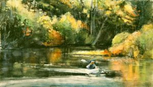 October Kayaker | Watercolor | Lois Lovejoy