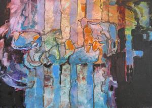 'Resting in Stripes' watercolor by Nancy Feldkamp