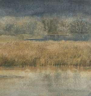 """""""Winter Cattails II"""", Watercolor Collage"""