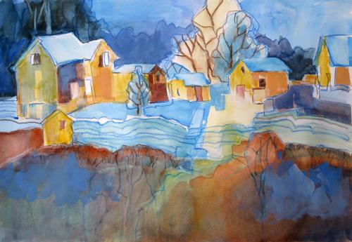 'The Blue Lines' watercolor by Nancy Feldkamp