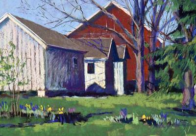 'Red Barn & Buildings' Pastel by Linda K. Klenczar
