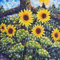 Sunflowers Chipmunk Garden | Acrylic | Jim Rehlin