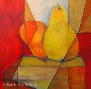 Fractured Pears | Acrylic on Wood | Barb Anderson