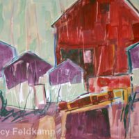 Red Purple Barns | Watercolor | Nancy Feldkamp