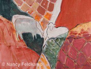 Red Quilted | Watercolor | 19x25 | Nancy Feldkamp