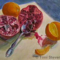 Pomegranate & Oranges | Watercolor | Toni Stevenson