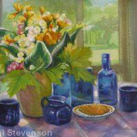 Blue Glass & Flowers | Gouache | Toni Stevenson