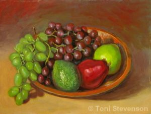 Pears & Grapes | Oil | Toni Stevenson