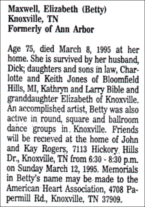 Betty Maxwell Obituary