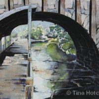 "Dexter Bridge | Mixed Media | 10 x 14"" | $300 | Tina Hotchkiss"