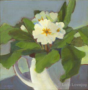 "Cup of Primroses | Corona Series #4 | Acrylic | 8 x 8"" | $190 | Lois Lovejoy"