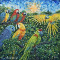 "Parrot Pandemonium | Acrylic | 24 x 24"" | $475 | Jim Rehlin"