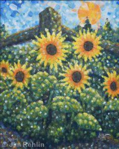 "Sunflowers & Chipmunk Garden | Acrylic | 20 x 16"" | $375 | Jim Rehlin"