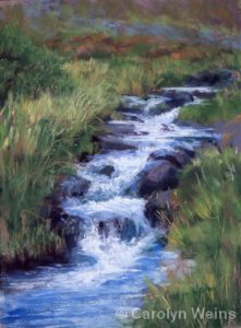 "Hillside Waterfall | Pastel | 12 x 9"" | $275 | Carolyn Weins"