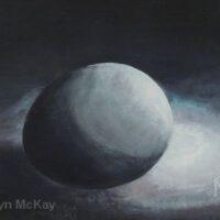 "EGGscanaba in da Moonlight | Oil | 6.25 x 8.25"" | $80 | Gwyn McKay"